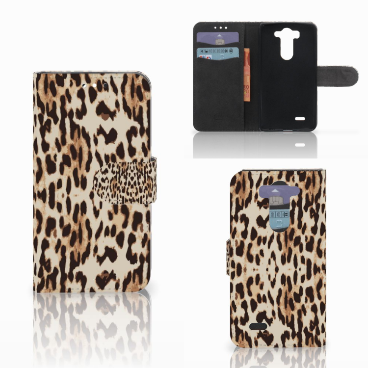 LG G3 S Telefoonhoesje met Pasjes Leopard