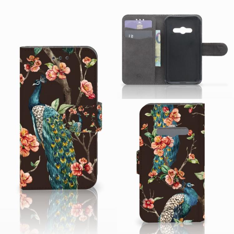 Samsung Galaxy Xcover 3 | Xcover 3 VE Telefoonhoesje met Pasjes Pauw met Bloemen