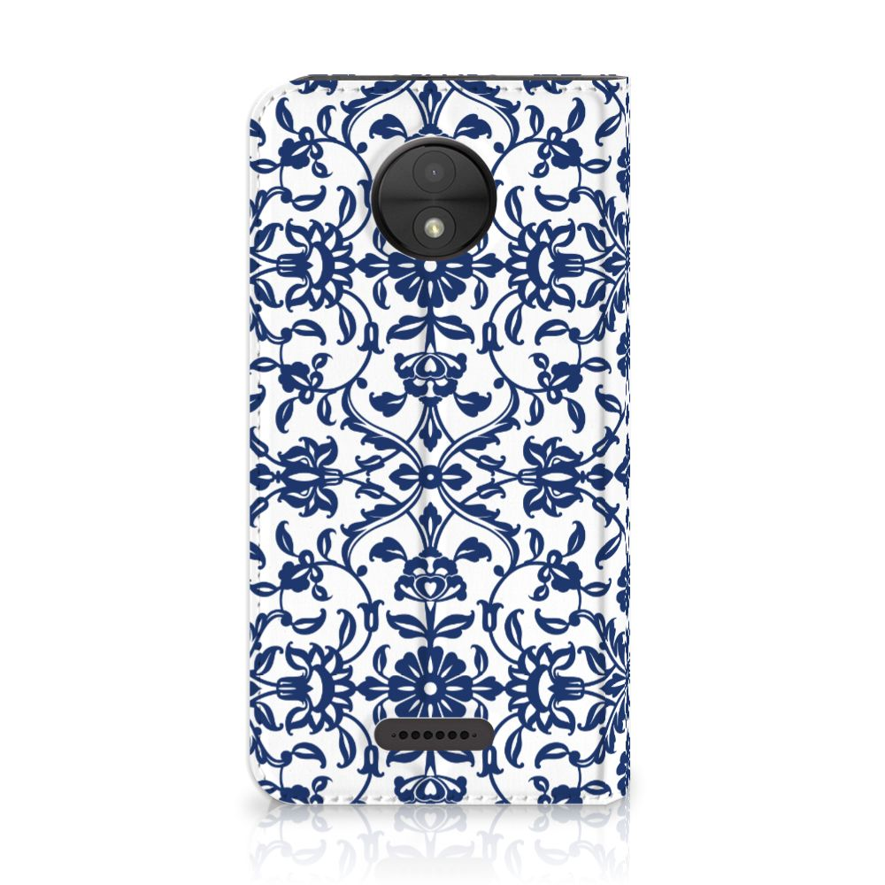 Motorola Moto C Standcase Hoesje Flower Blue