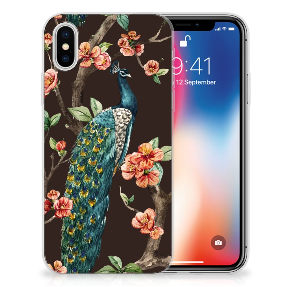 Apple iPhone X | Xs TPU Hoesje Design Pauw met Bloemen