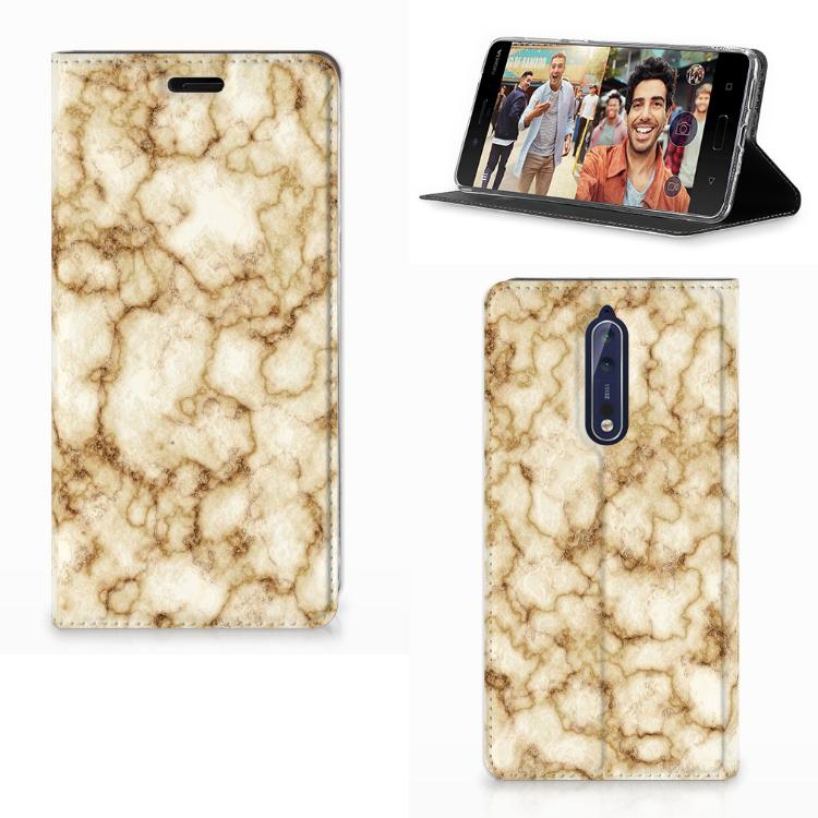 Nokia 8 Standcase Marmer Goud