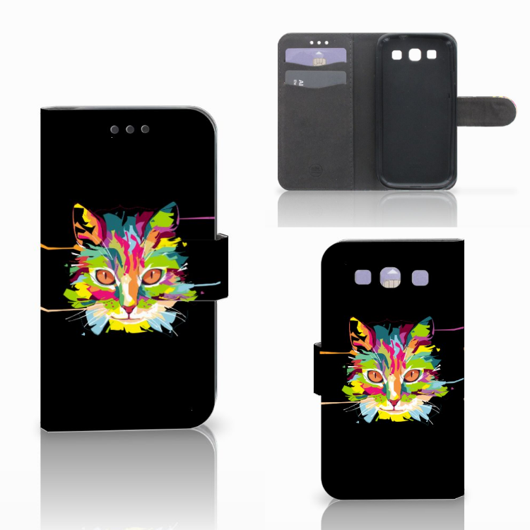Samsung Galaxy S3 i9300 Leuke Hoesje Cat Color