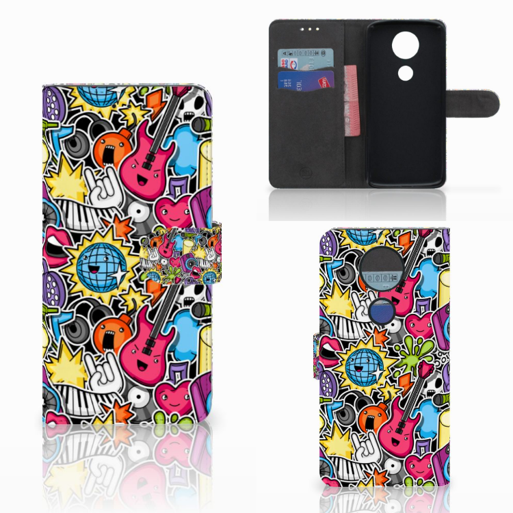 Motorola Moto E5 Plus Wallet Case met Pasjes Punk Rock