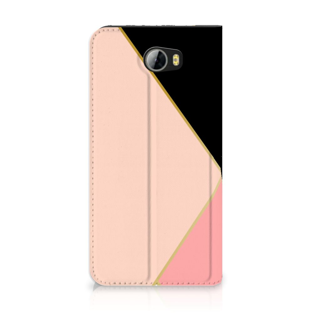Huawei Y5 2 | Y6 Compact Uniek Standcase Hoesje Black Pink Shapes