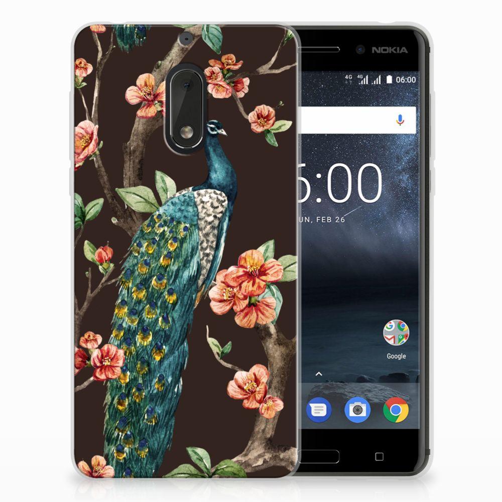 Nokia 6 TPU Hoesje Design Pauw met Bloemen