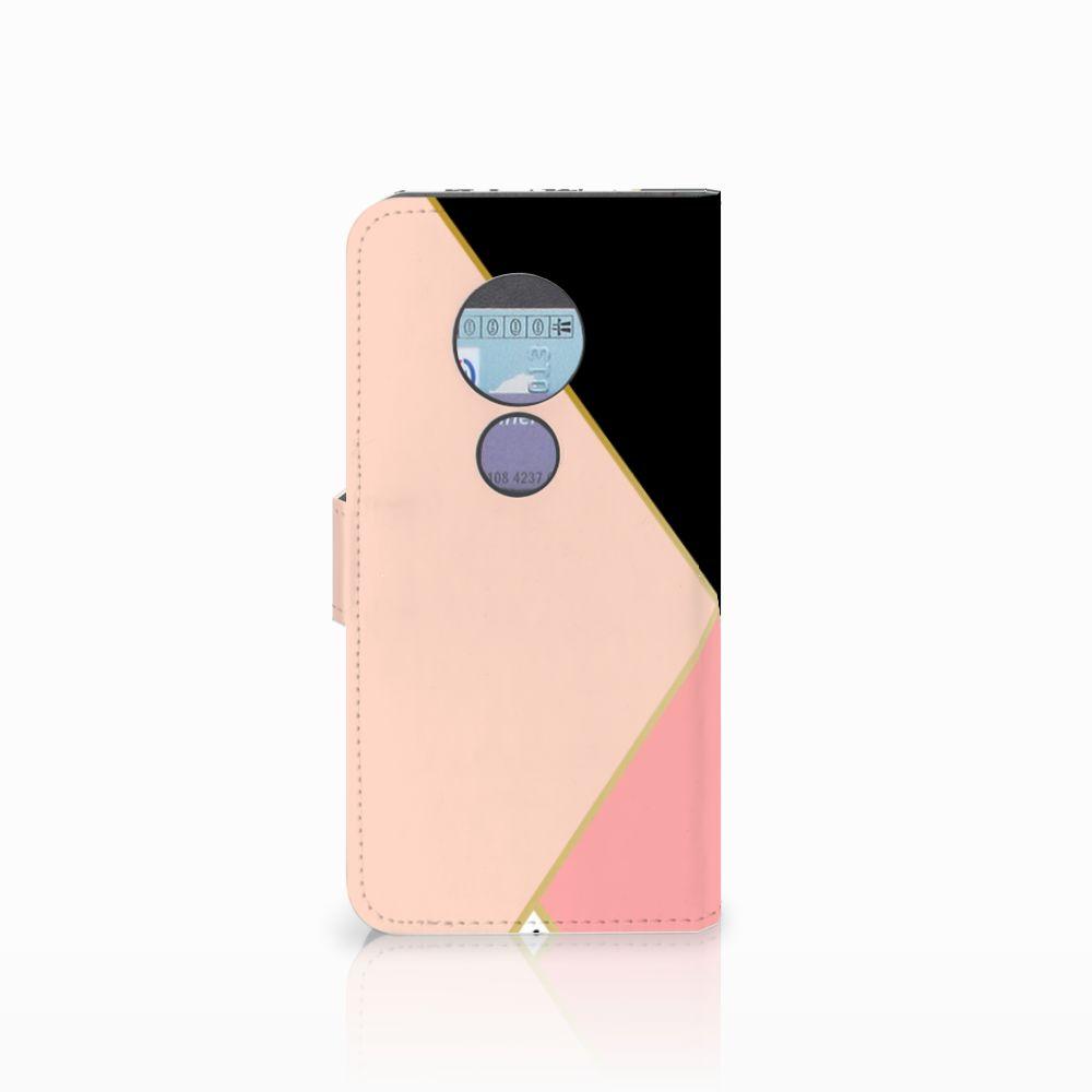 Motorola Moto G6 Play Bookcase Zwart Roze Vormen