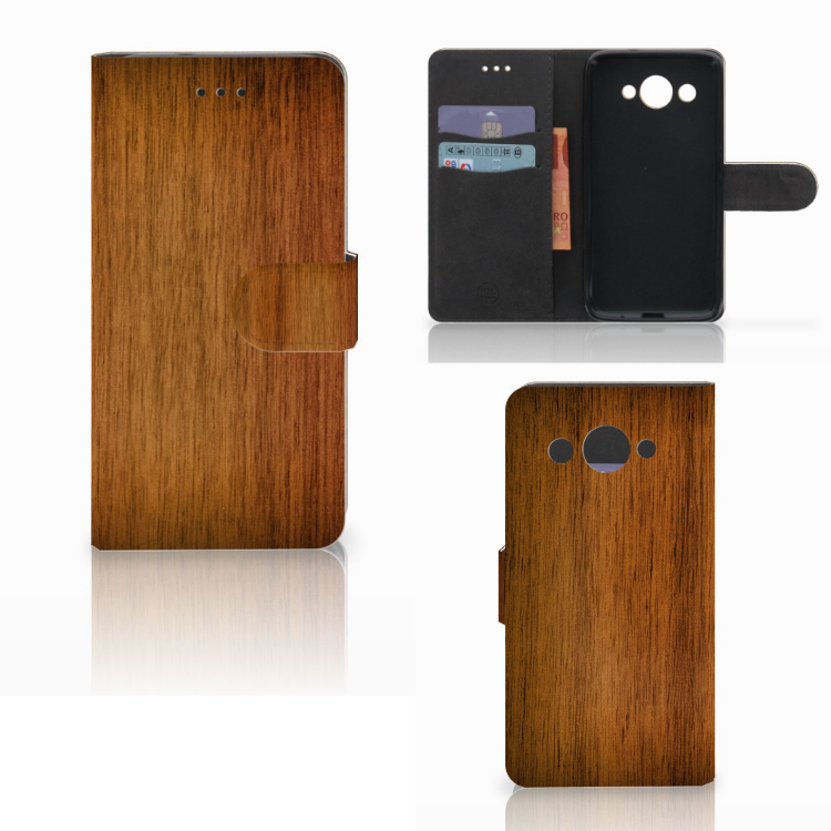 Huawei Y3 2017 Book Style Case Donker Hout