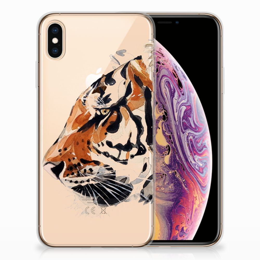 Apple iPhone Xs Max Uniek TPU Hoesje Watercolor Tiger