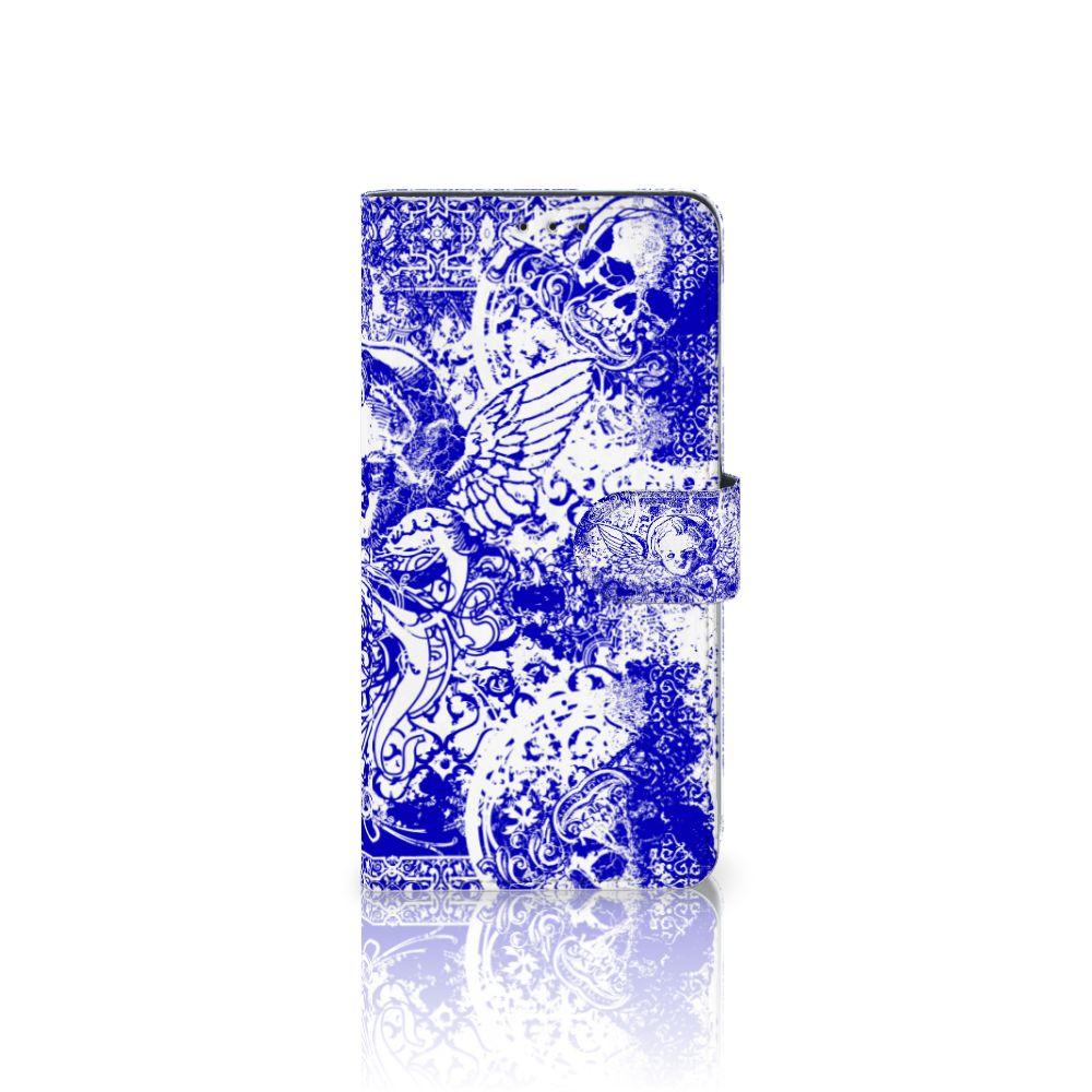 Samsung Galaxy A8 Plus (2018) Uniek Boekhoesje Angel Skull Blue