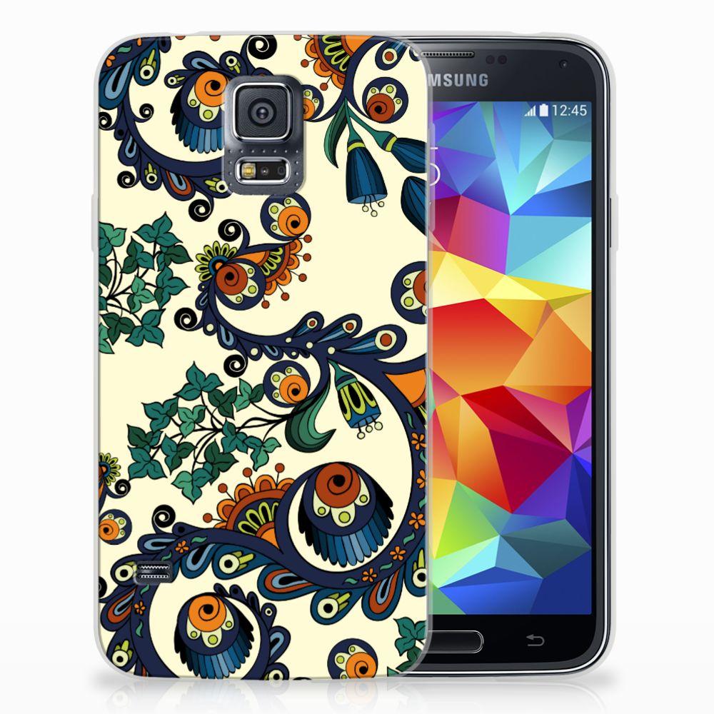 Siliconen Hoesje Samsung Galaxy S5 Barok Flower
