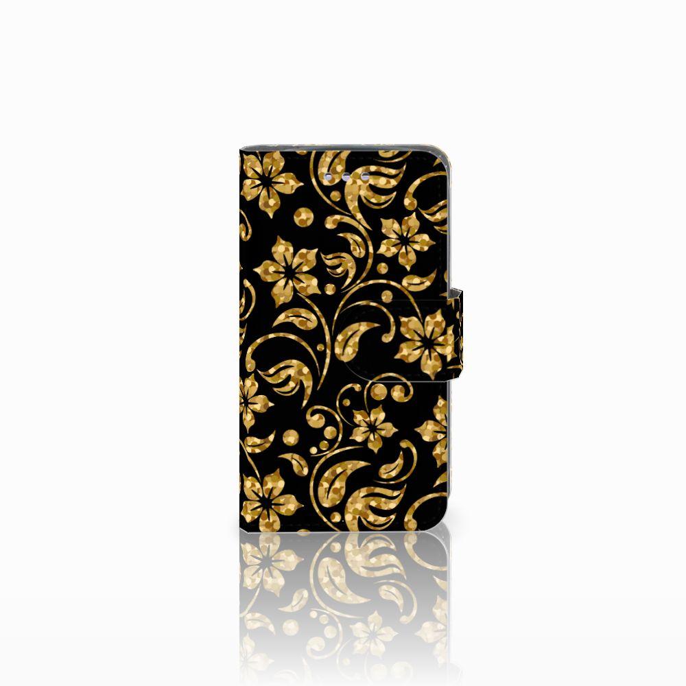 Samsung Galaxy S3 Mini Boekhoesje Design Gouden Bloemen