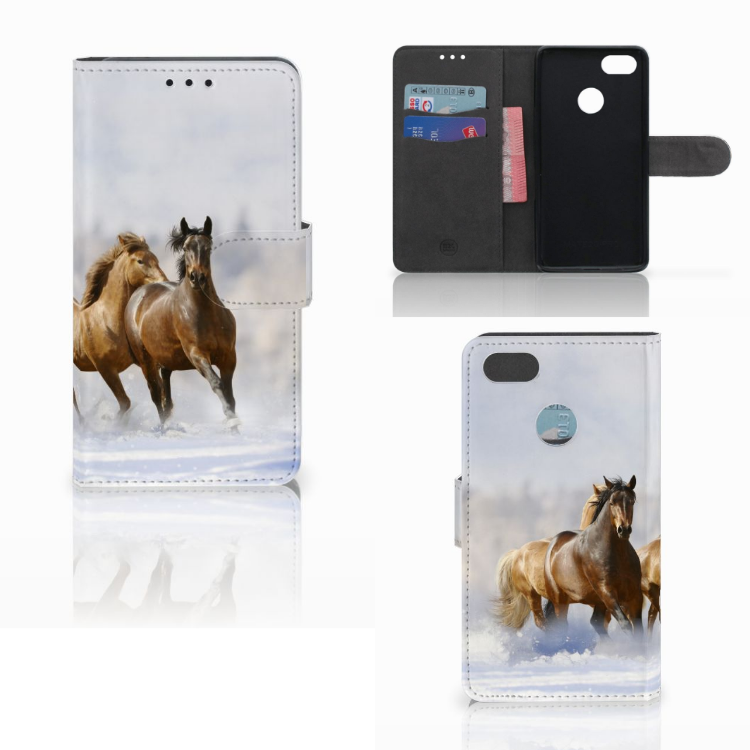 Huawei Y6 Pro 2017 Telefoonhoesje met Pasjes Paarden