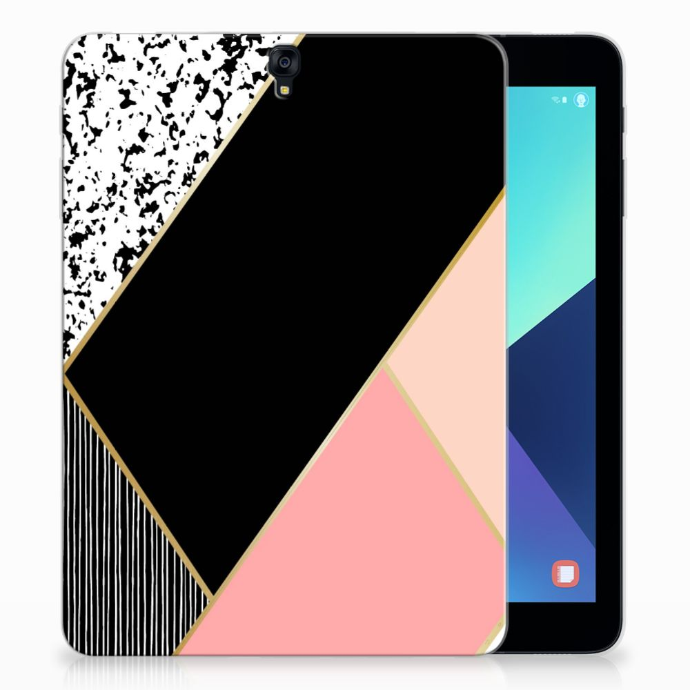 Samsung Galaxy Tab S3 9.7 Back Cover Zwart Roze Vormen