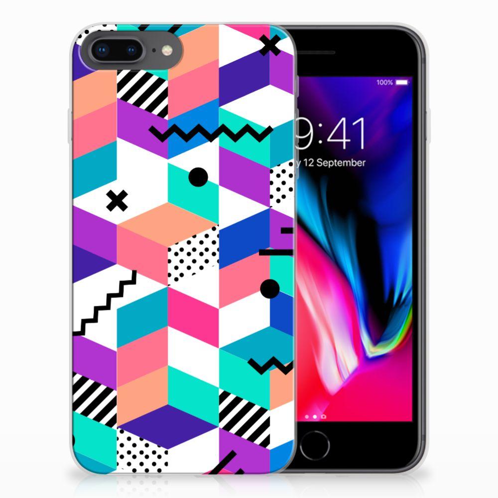 Apple iPhone 7 Plus | 8 Plus TPU Hoesje Blokken Kleurrijk