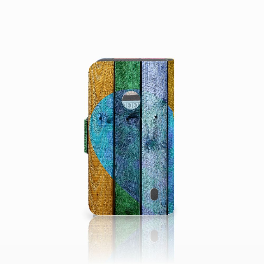 Nokia Lumia 520 Book Style Case Wood Heart