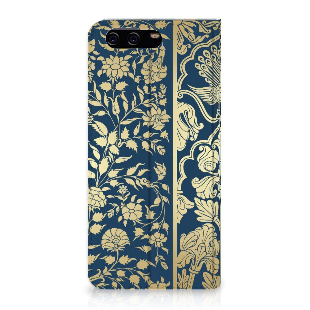Huawei P10 Standcase Hoesje Golden Flowers