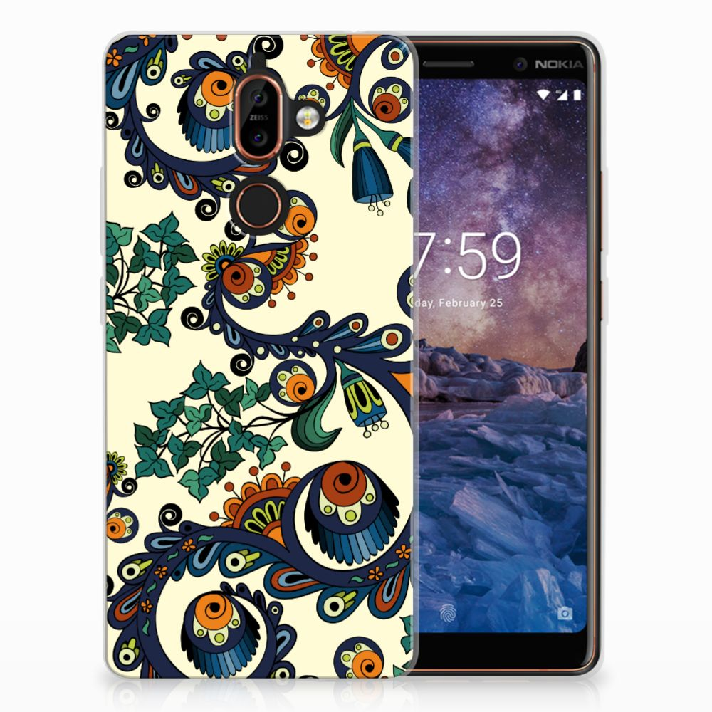 Siliconen Hoesje Nokia 7 Plus Barok Flower