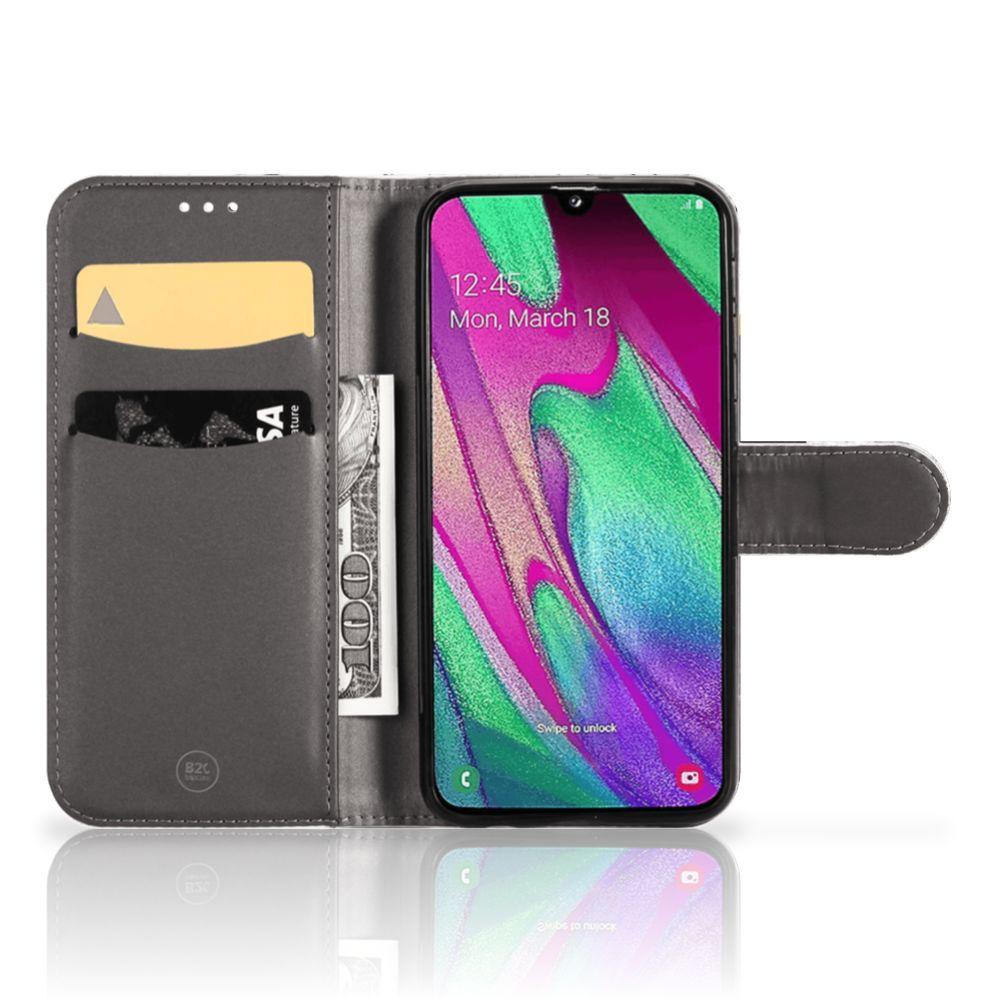 Samsung Galaxy A40 Bookcase Marmer Wit Zwart