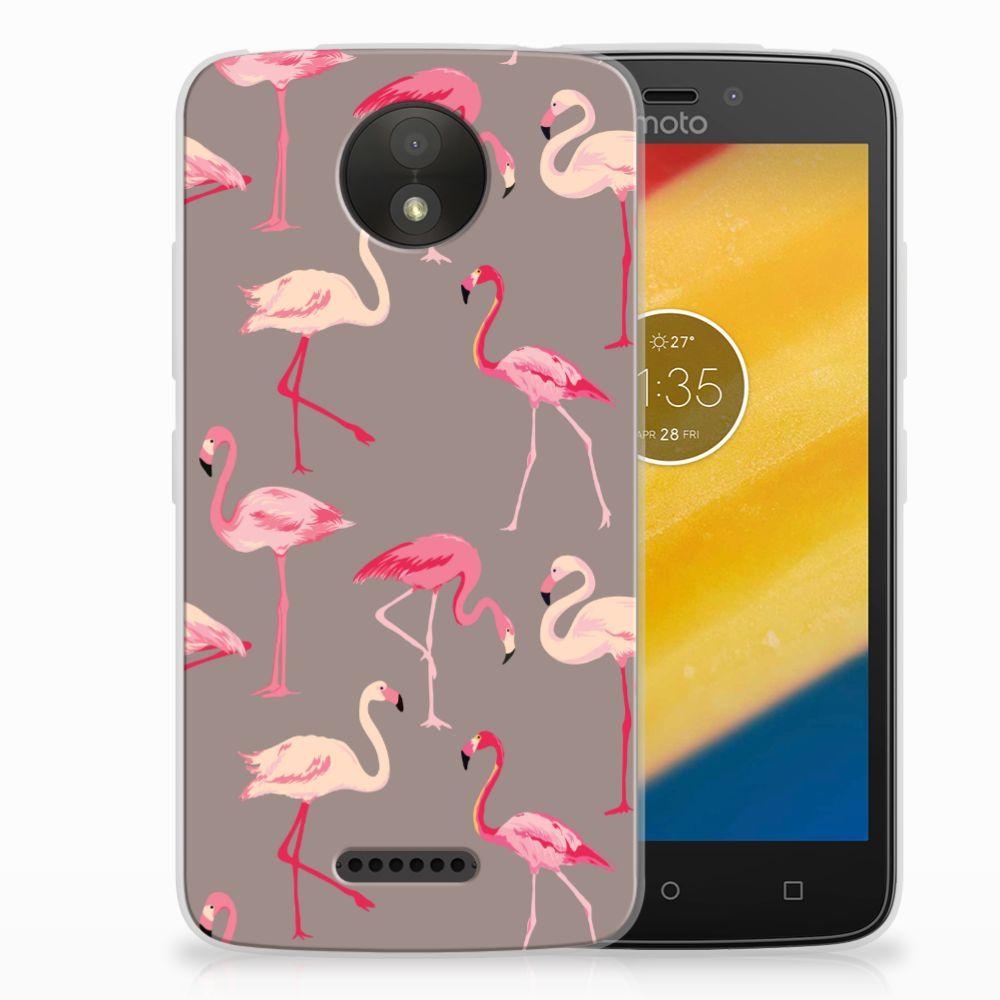 Motorola Moto C Plus Uniek TPU Hoesje Flamingo B2Ctelecom