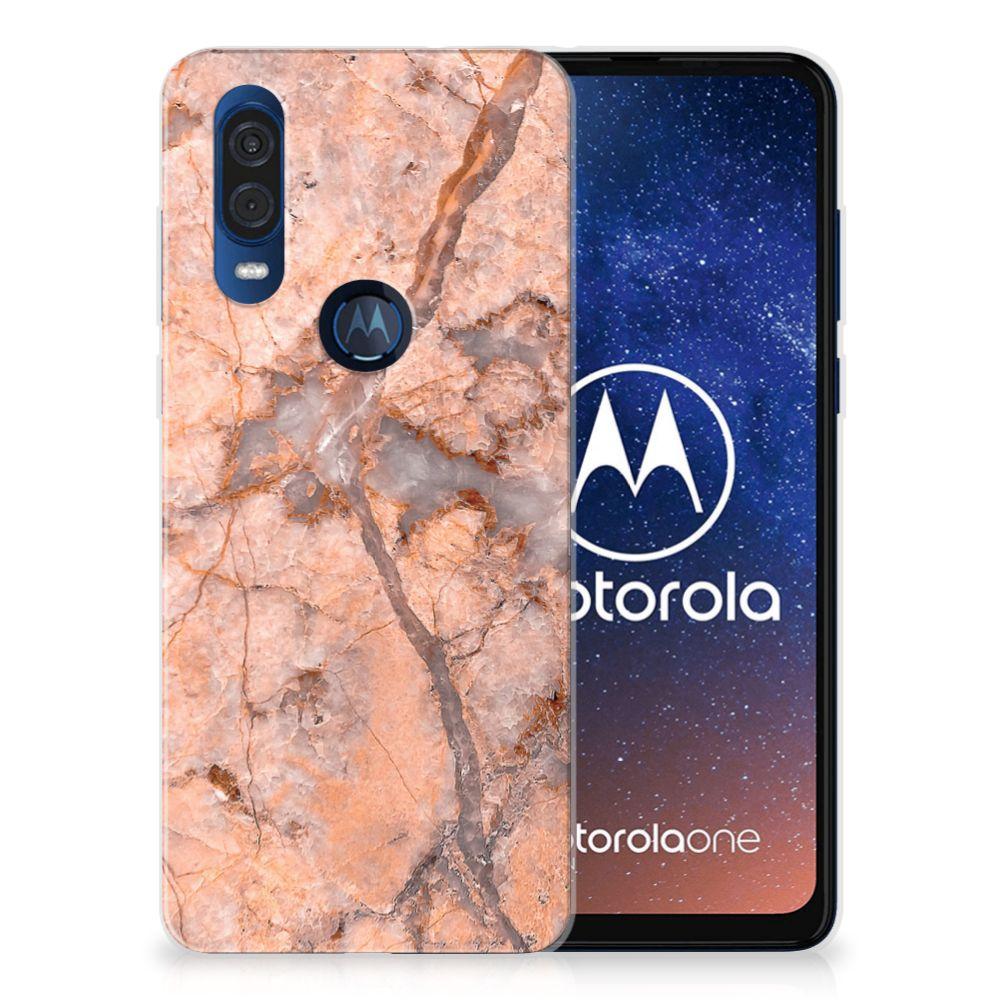 Motorola One Vision TPU Siliconen Hoesje Marmer Oranje