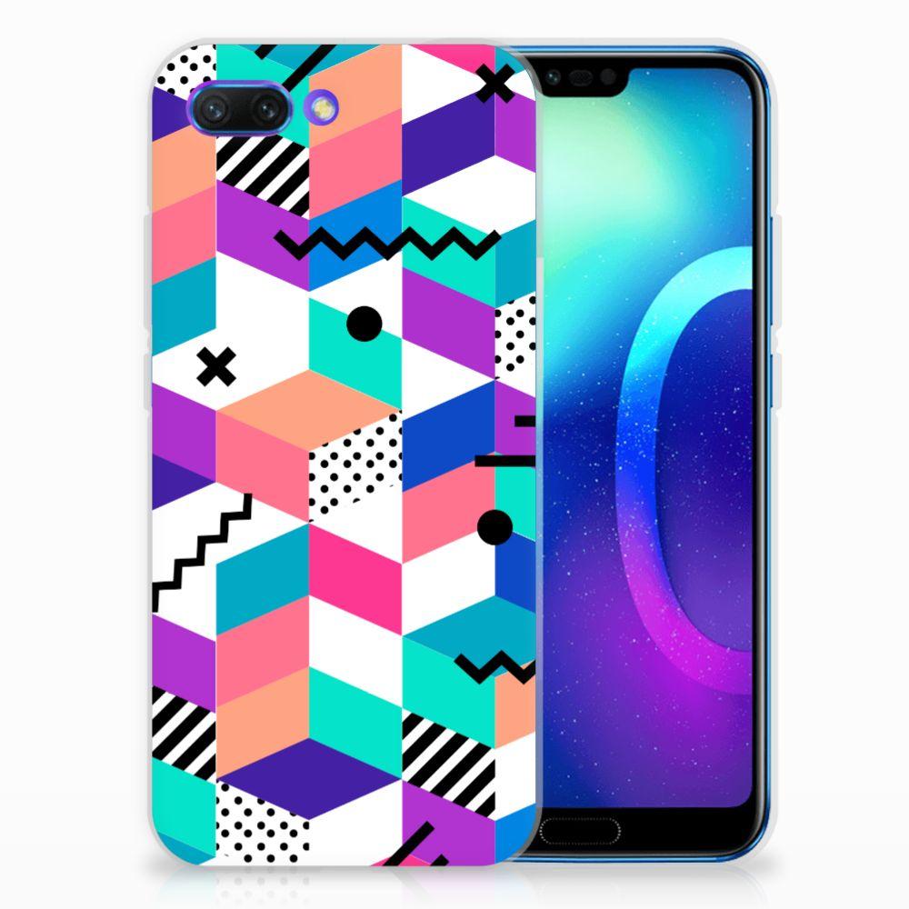 Huawei Honor 10 TPU Hoesje Blokken Kleurrijk