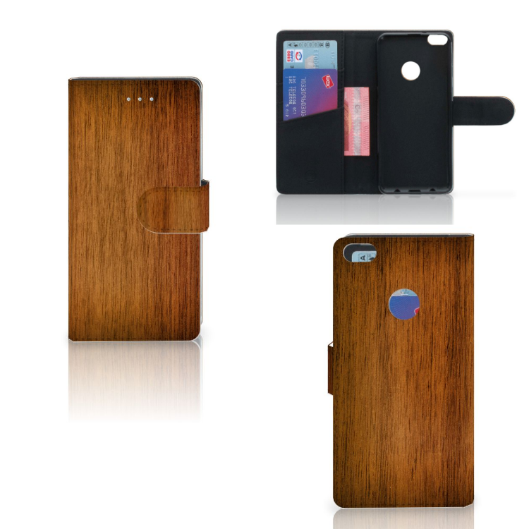 Huawei P8 Lite 2017 Book Style Case Donker Hout