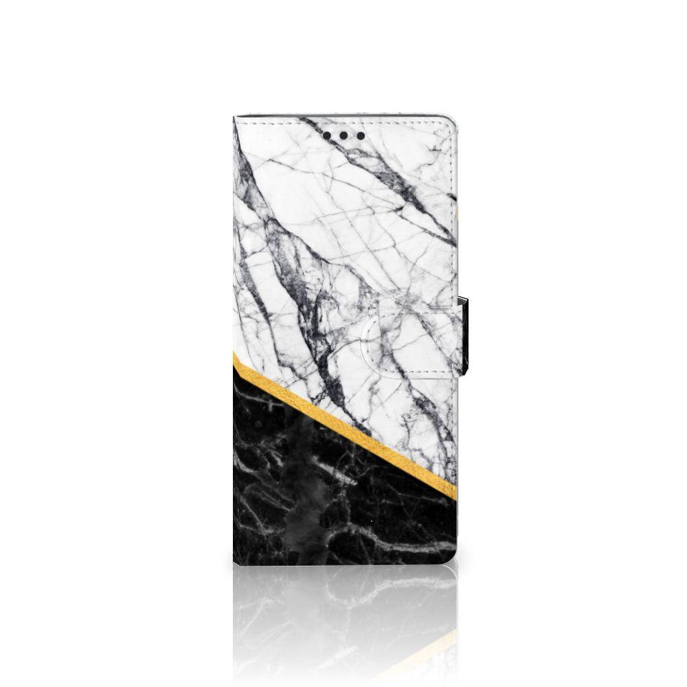Sony Xperia XA Ultra Uniek Boekhoesje Marble White Black