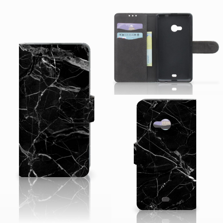 Microsoft Lumia 535 Bookcase Marmer Zwart - Origineel Cadeau Vader