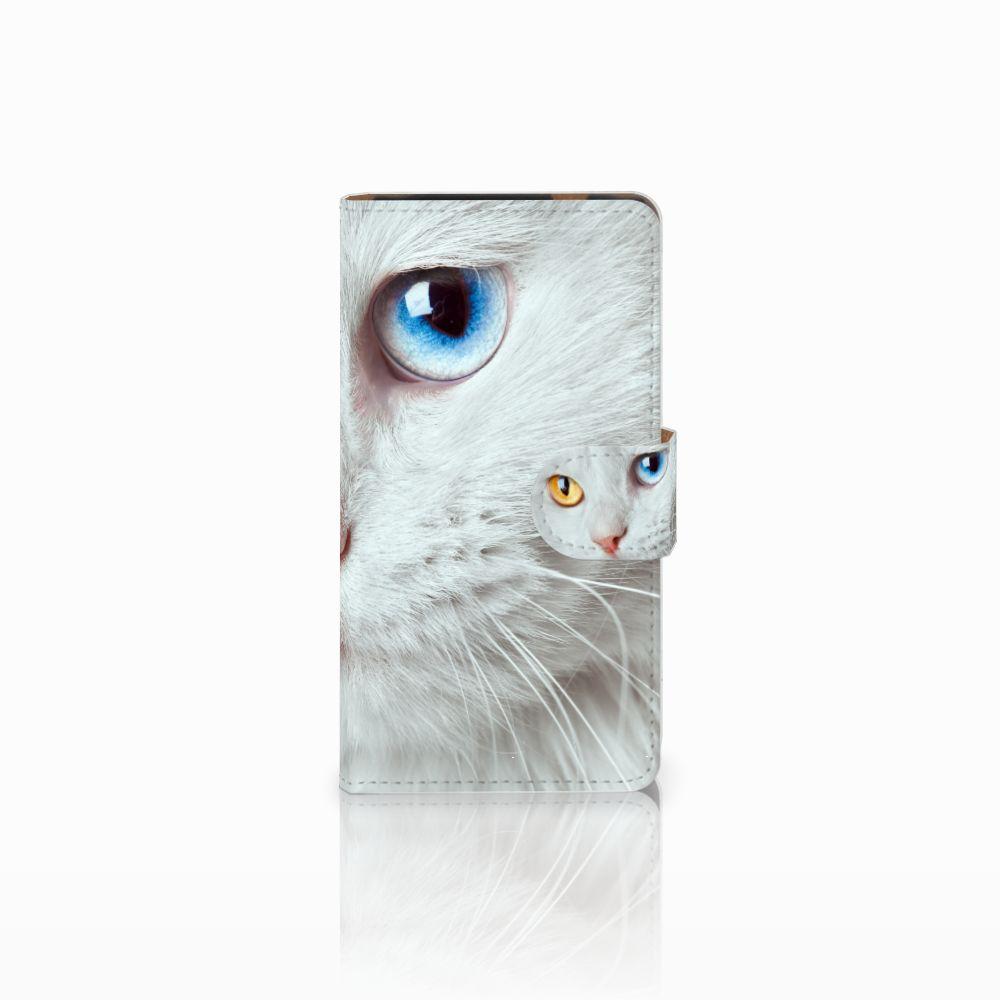 HTC Desire 601 Uniek Boekhoesje Witte Kat