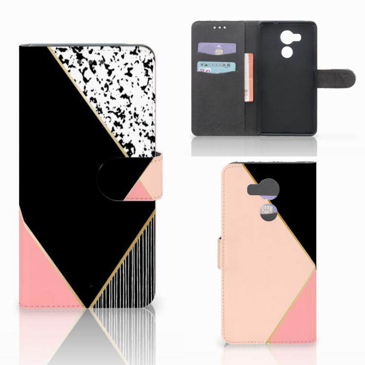 Huawei Mate 8 Bookcase Zwart Roze Vormen
