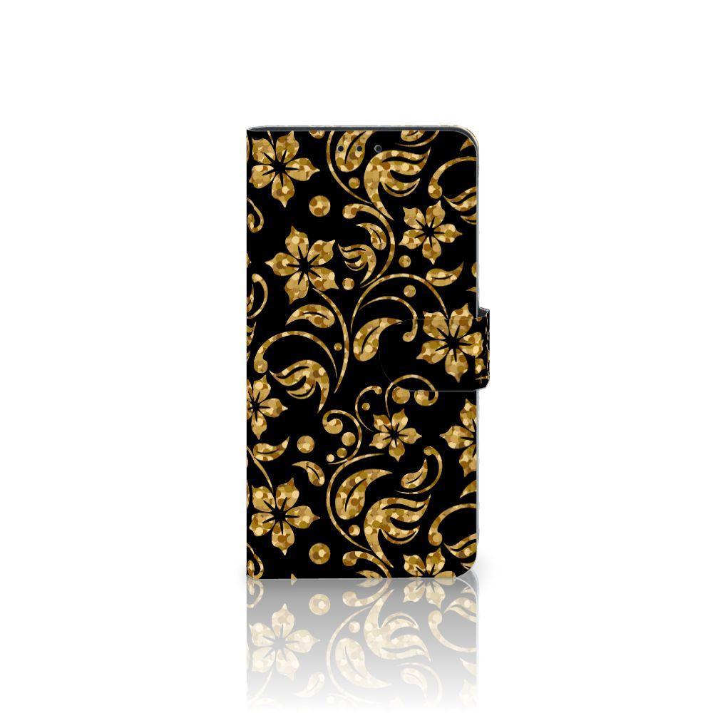 Samsung Galaxy J4 Plus (2018) Boekhoesje Design Gouden Bloemen