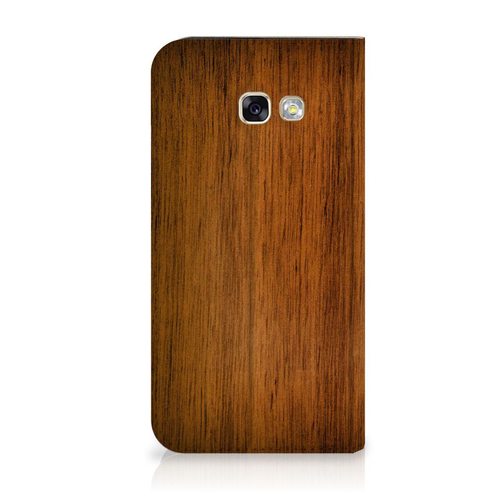 Samsung Galaxy A5 2017 Uniek Standcase Hoesje Donker Hout