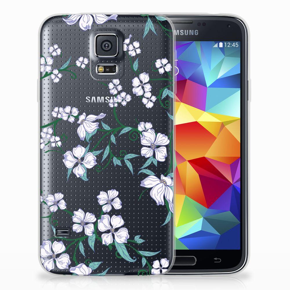 Samsung Galaxy S5 Uniek TPU Hoesje Blossom White