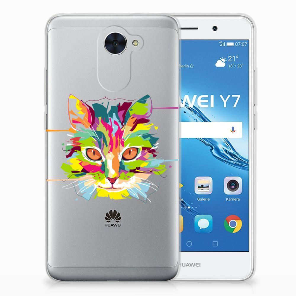 Huawei Y7 (2017) | Y7 Prime (2017) Uniek TPU Hoesje Cat Color