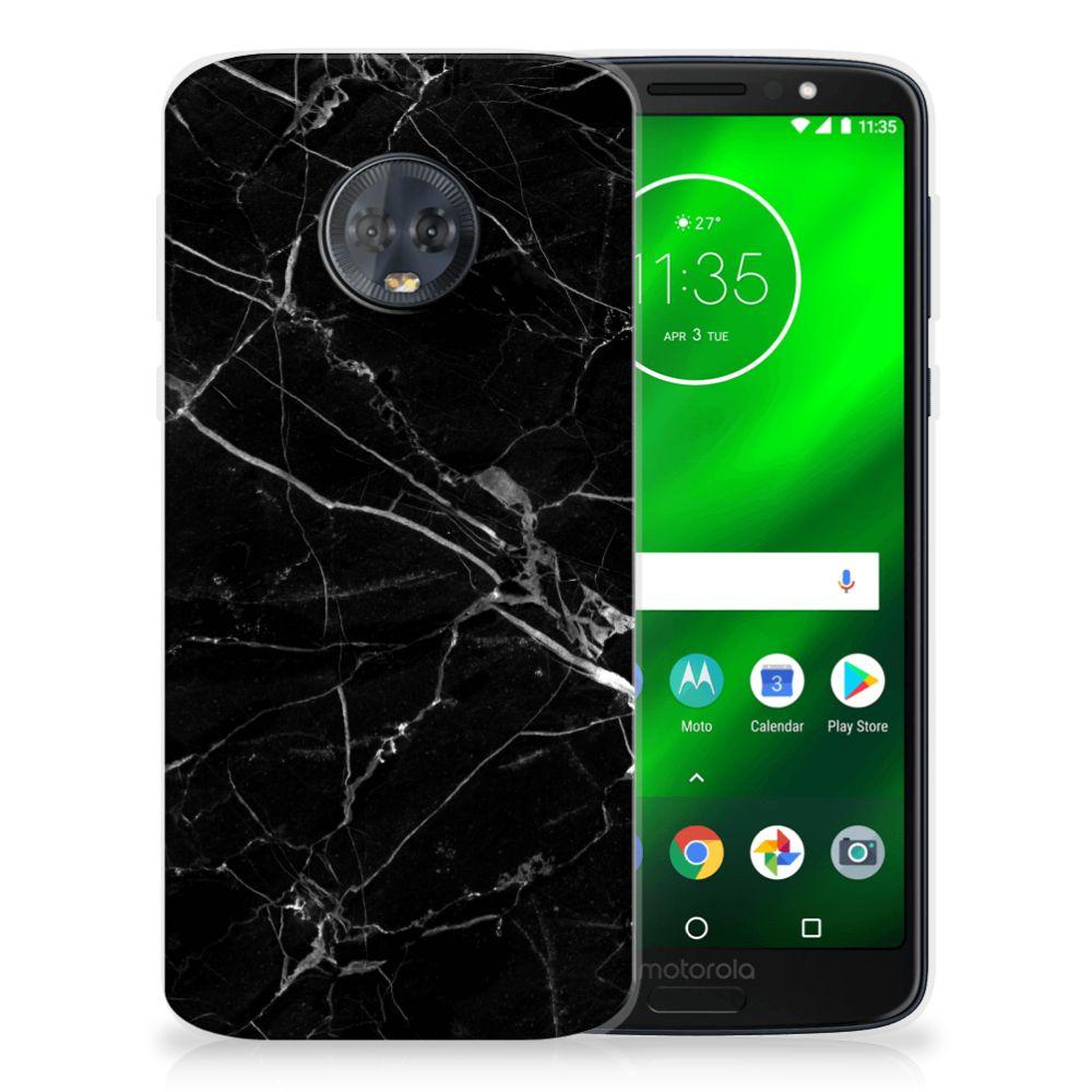 Motorola Moto G6 Plus Uniek TPU Hoesje Marmer Zwart