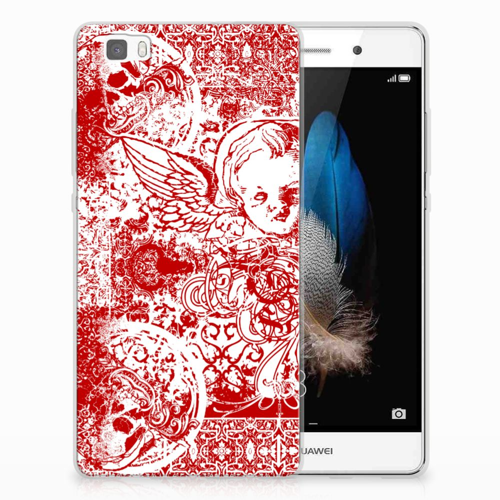 Silicone Back Case Huawei Ascend P8 Lite Angel Skull Rood