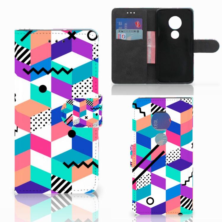 Motorola Moto G7 Play Bookcase Blokken Kleurrijk