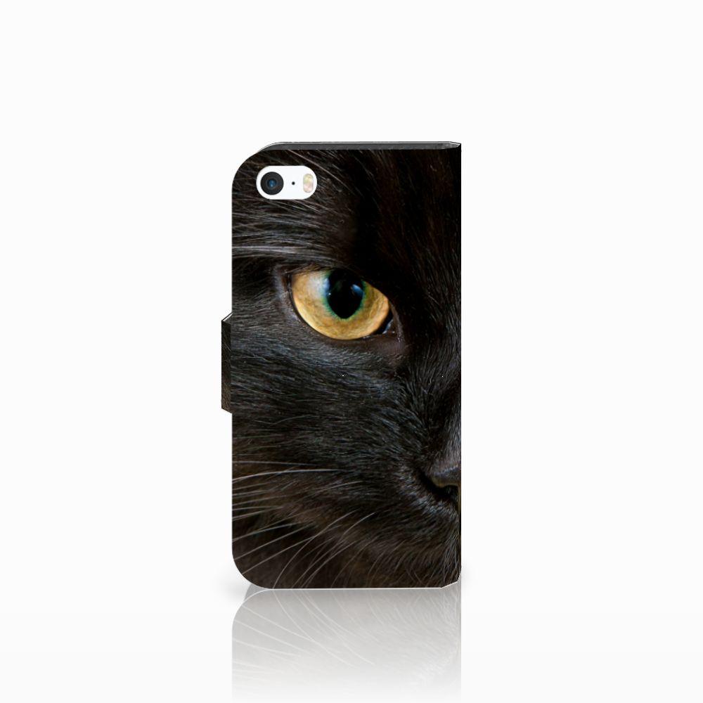 Apple iPhone 5 | 5s | SE Telefoonhoesje met Pasjes Zwarte Kat
