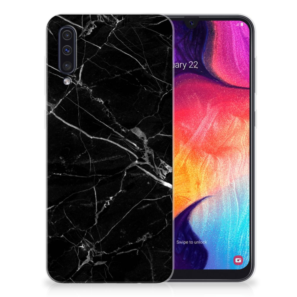 Samsung Galaxy A50 TPU Siliconen Hoesje Marmer Zwart