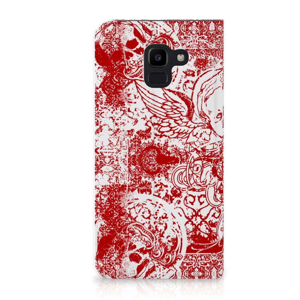 Samsung Galaxy J6 (2018) Standcase Hoesje Design Angel Skull Red
