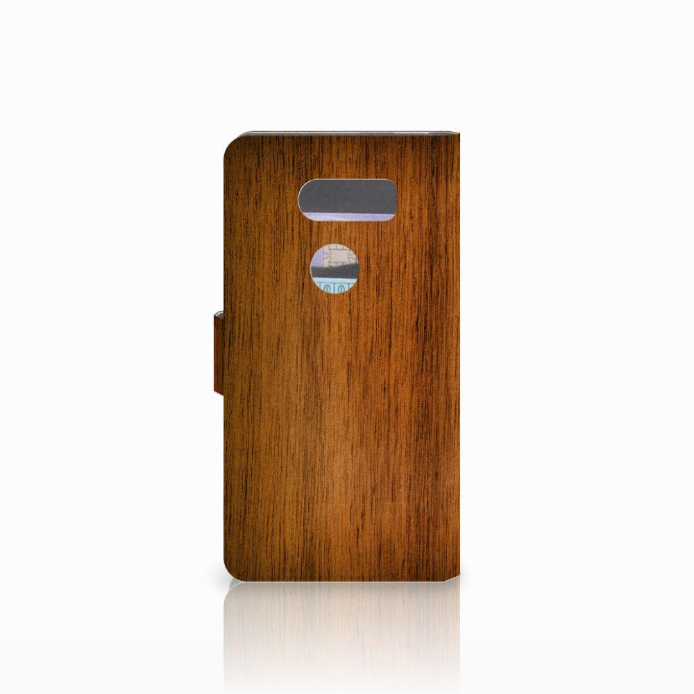 LG V30 Book Style Case Donker Hout