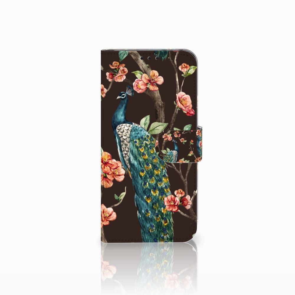 Honor View 20 Boekhoesje Design Pauw met Bloemen