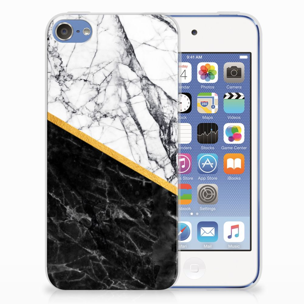 Apple iPod Touch 5 | 6 TPU Siliconen Hoesje Marmer Wit Zwart