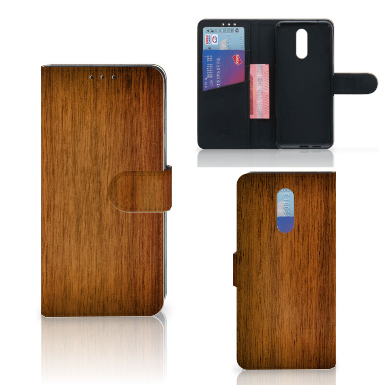 Nokia 3.2 Book Style Case Donker Hout