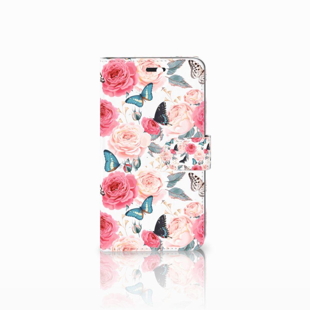 Huawei Y6 II   Honor 5A Uniek Boekhoesje Butterfly Roses