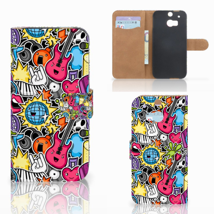 HTC One M8 Wallet Case met Pasjes Punk Rock