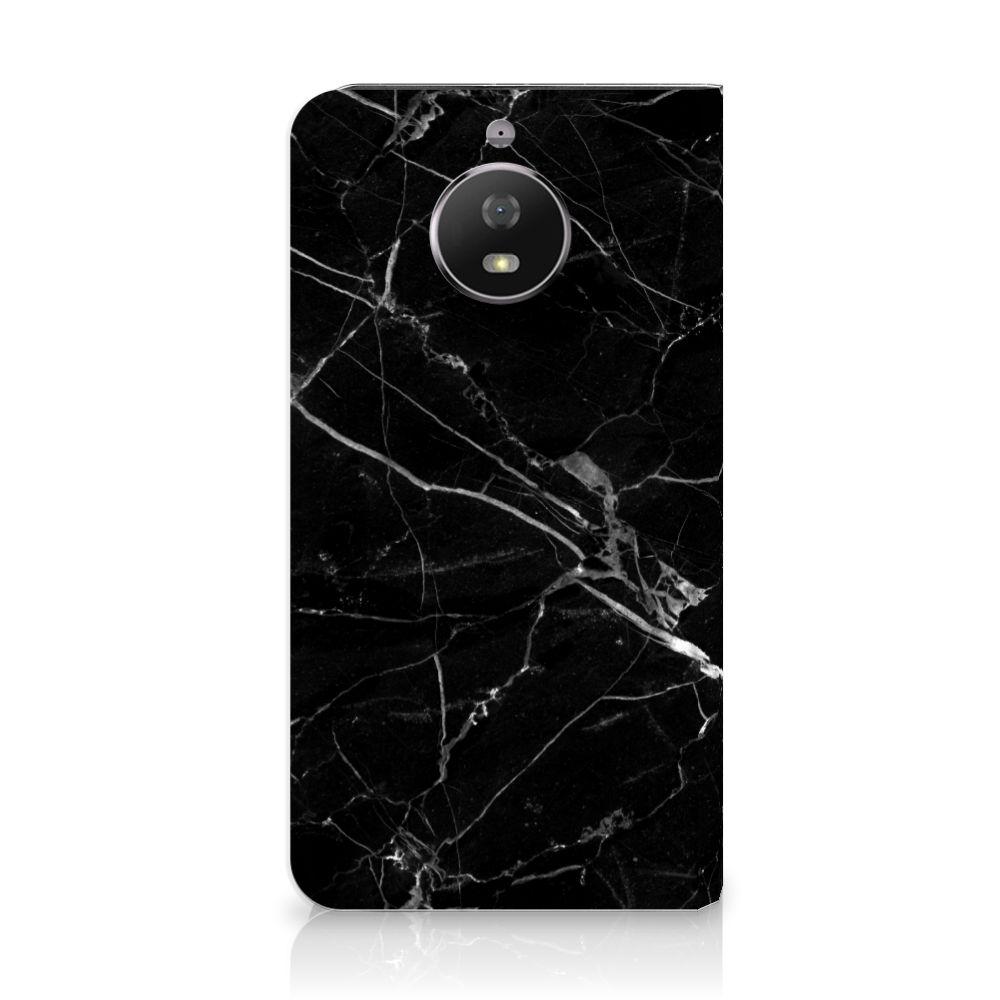 Motorola Moto G5S Uniek Standcase Hoesje Marmer Zwart