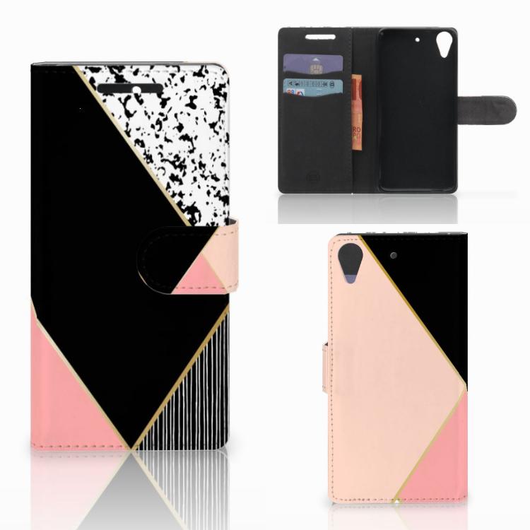 HTC Desire 628 Bookcase Zwart Roze Vormen
