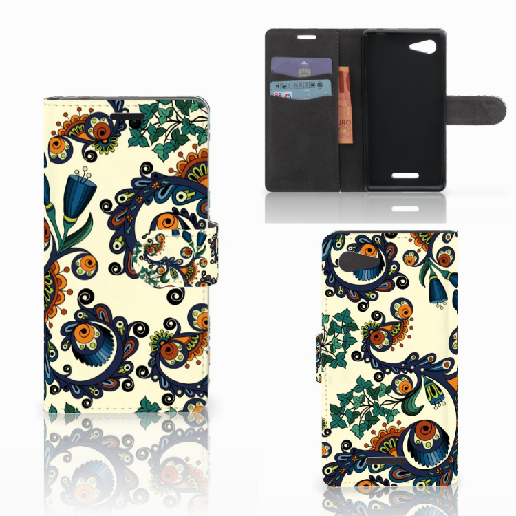 Wallet Case Sony Xperia E3 Barok Flower