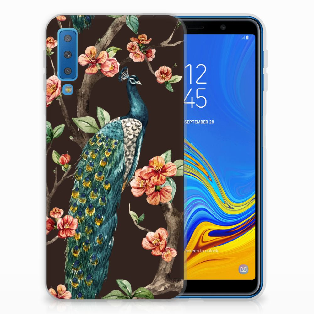 Samsung Galaxy A7 (2018) Leuk Hoesje Pauw met Bloemen